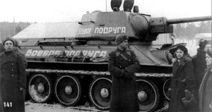 """Fighting Girlfriend"" the T-34 driven by Mariya Vasilyevna Oktyabrskaya"
