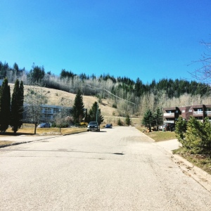 The road at the bottom of UNBC hill